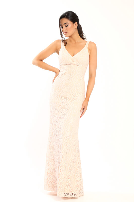 c3b40ab6bf6 Γοργονέ Maxi Φόρεμα Με Κεντημένη Δαντέλα