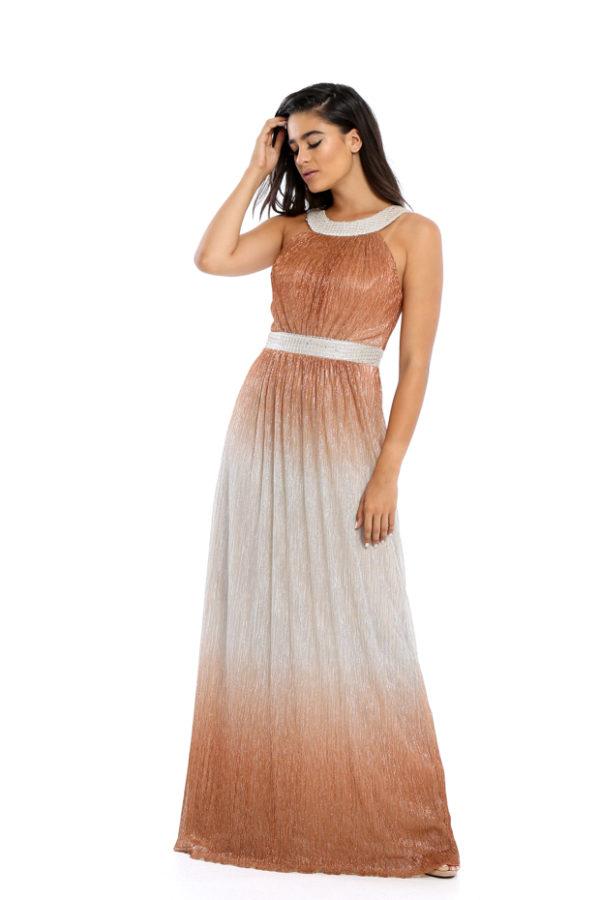 919359a332b Φόρεμα Maxi Μεταλιζέ Με Παρτούς Ώμους